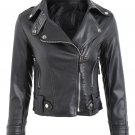 Fall Spring Fashion Solid Pu Leather Motorcycle Biker Jacket