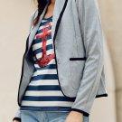Cotton Fashion Solid Gray Womens Blazer