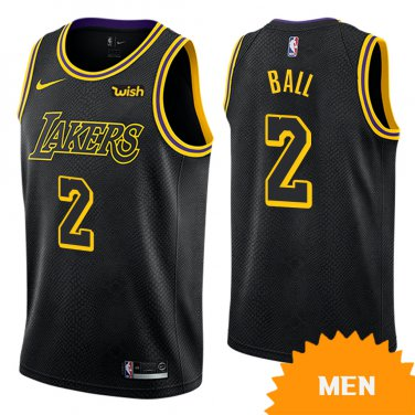 free shipping a44ff f83c1 Men's Los Angeles Lakers Lonzo Ball City Edition Jersey - Black