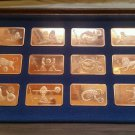 Astrological Copper Art Bar Set, Signs of the Zodiac from Mt Everest Mint, 1974