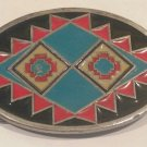 GAP Oval Enameled Belt Buckle Southwestern Design marked 1993, #4008