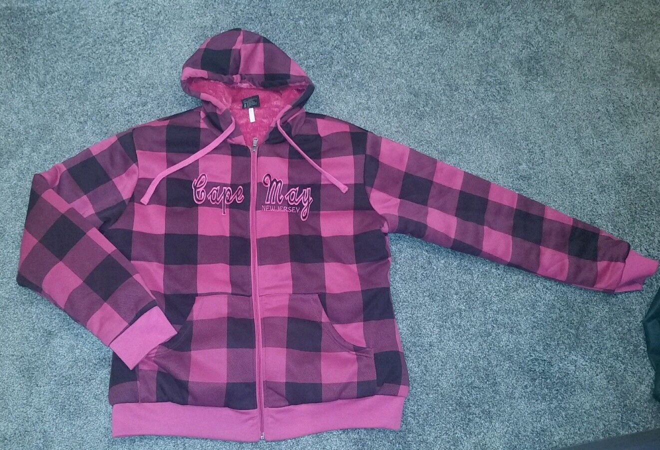 Cape May NJ Hooded Full Zip Original Deluxe Pink & Black Plaid Jacket, Kids 2XL
