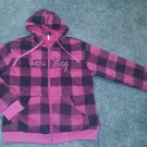 Cape May NJ Hooded Full Zip Original Deluxe Pink & Black Plaid Jacket, Kids 2XL