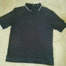 Smith And Tweed Men's Casual Golf Shirt, Black with White striping.  Size Medium