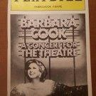 Barbara Cook: A Concert for the Theatre Playbill, Ambassador Theatre, 1987