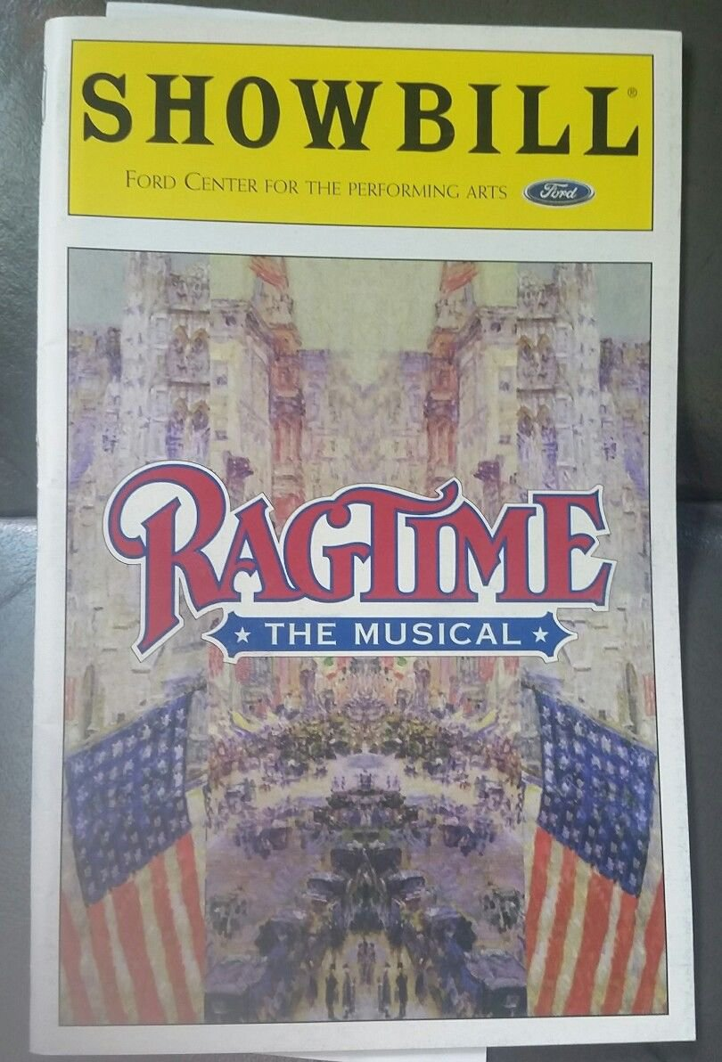 Ragtime the Musical Showbill, Ford Center w/ 21JUN99 Stub & Cast Change Note
