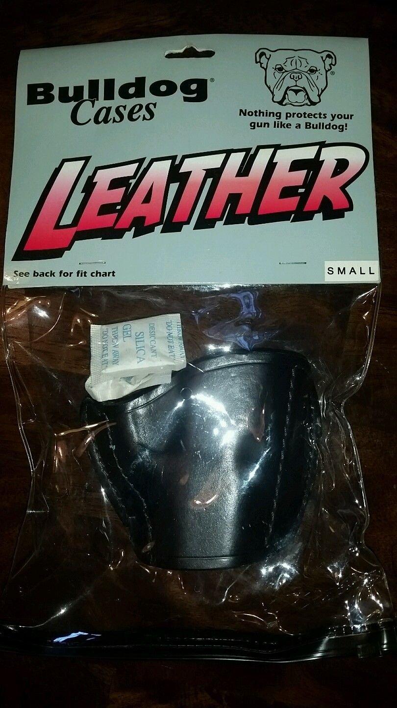 BULLDOG CASES Small Belt Slide Leather Holster #MLB-S Black