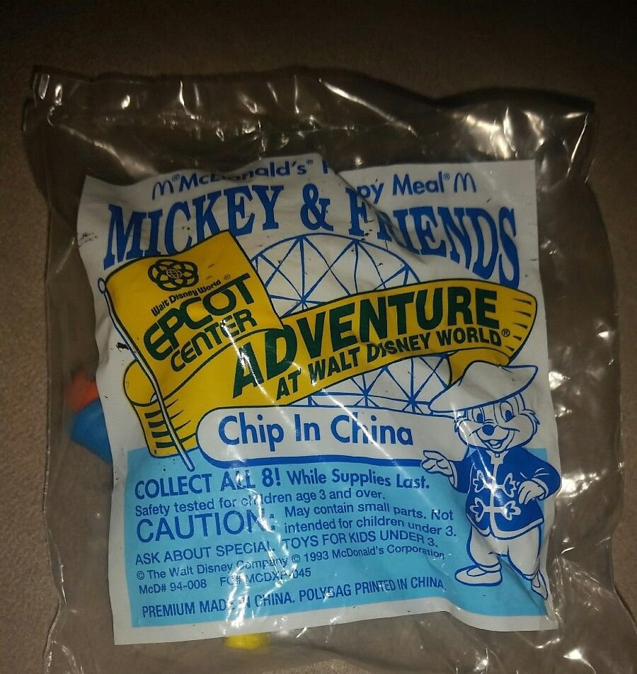 1993 Epcot Center Chip in China McDonalds Happy Meal Toy Disney