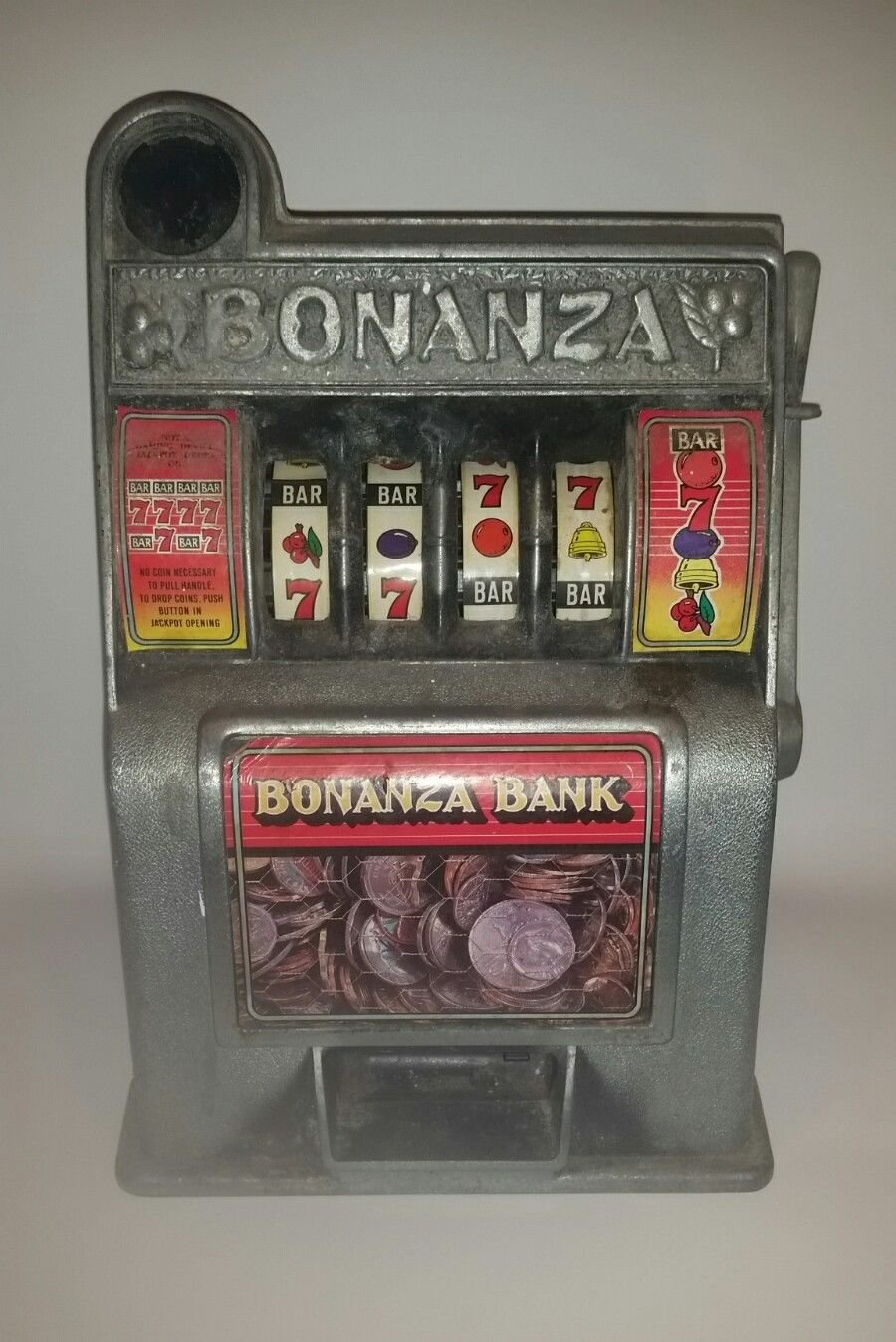 Vintage Bonanza Casino Slot Machine Coin Bank, Parts or repair only