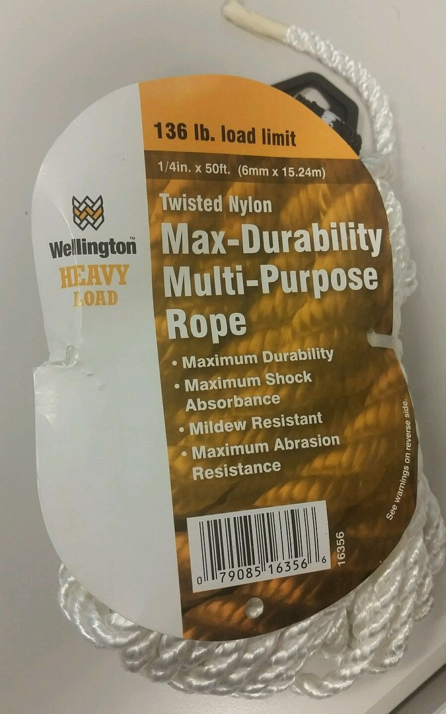 Wellington 1/4 X 50 FT Heavy Load Twisted Nylon Max-Durability Multi-Use Rope