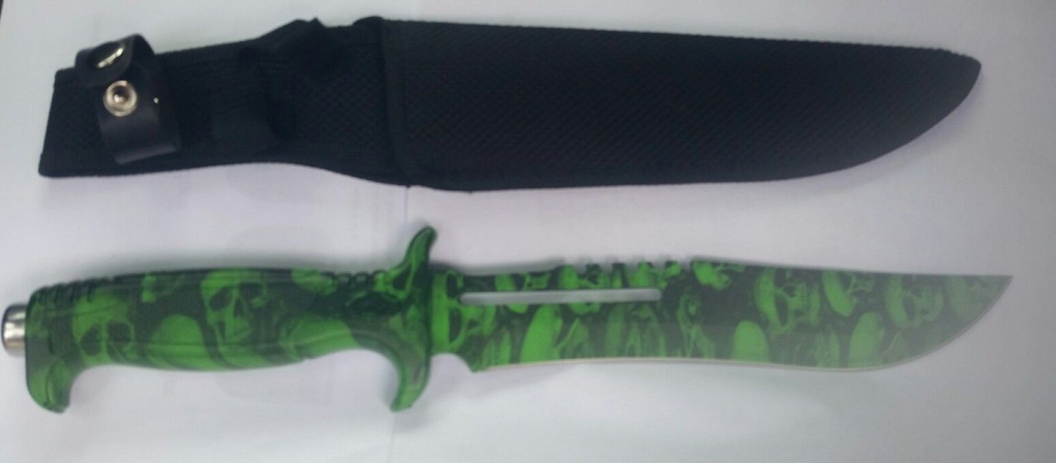 "KKC Zombie Skull Camo Hunting Knife 13"" Comes with a Black Sheath- Green"
