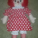 1970s Style Raggedy Ann 20 Inch Cloth Doll Yarn Hair