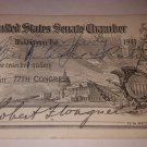 U.S. Senate Chamber Pass for the 77th Congress, 1941 Signed by Robert F. Wagner