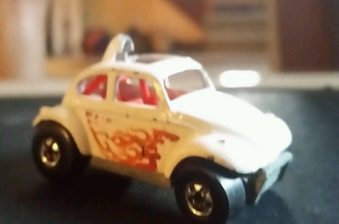 Mattel Hot Wheels 1987 White Volkswagen Beetle BAJA BUG w/BW - Loose