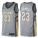 Cavaliers #23 Lebron James THE LAND  jersey gray city edition