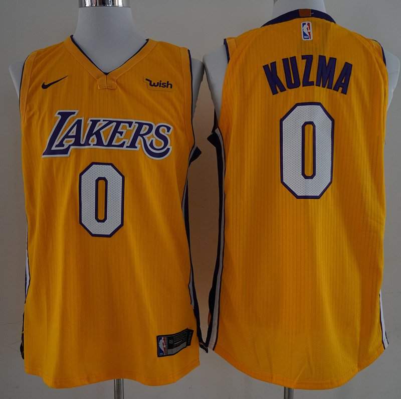 watch 1307b afb75 Men's Lakers #0 kyle kuzma jersey yellow