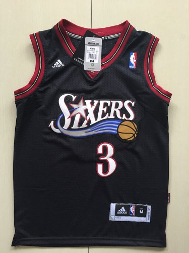 buy online c4847 83080 Youth 76ers Allen Iverson Jersey black