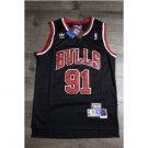 Men's Bulls 91 Dennis Rodman throwback jersey black