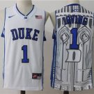 Men's Duke Blue DEVILS 1 Kyrie Irving college jersey white