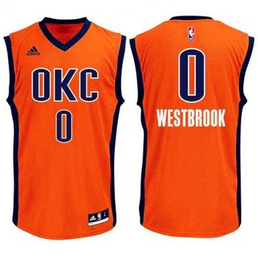 buy online 25c46 d048e Men's Thunders 0 Russell Westbrook OKC Jersey orange