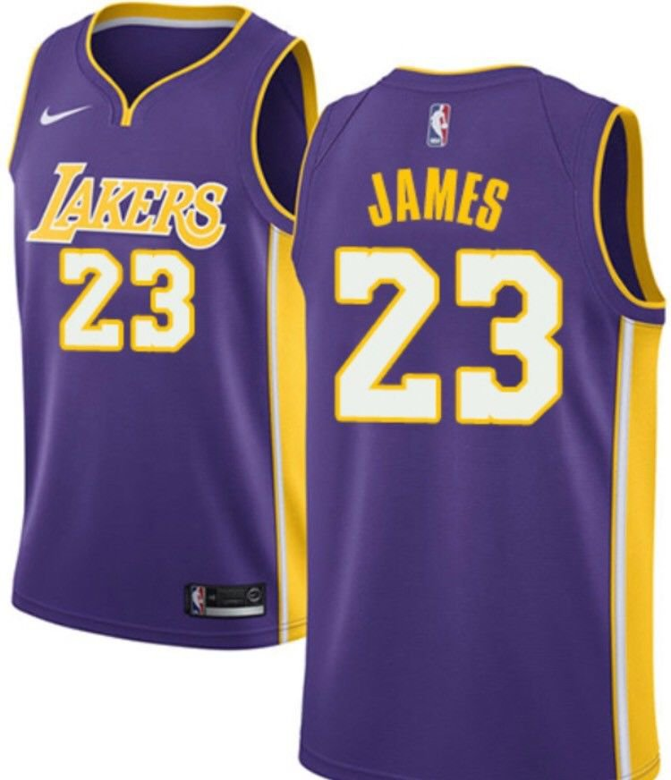 sports shoes af8a5 339d0 Men's Lebron James Lakers 23 jersey purple