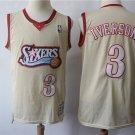 Men's 76ers 3 Allen Iverson  throwback  jersey beige