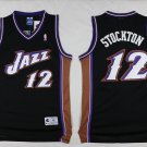 Men's jazz 12 John Stockton throwback jersey black