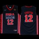 John Stockton USA Dream team #12 basketball jersery black