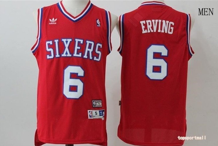 8a1aceb52 Men s Philadelphia 76ers 6 Julius Erving red throwback Basketball Jersey