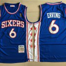 Men's Philadelphia 76ers#6 Julius Erving Blue Basketball Jersey