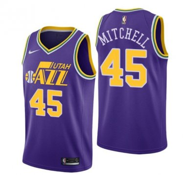 best loved 027eb 2ce56 Men's Donovan Mitchell #45 Utah Jazz throwback purple Jersey