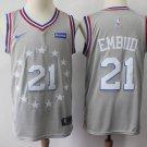 Men's 76ers #21 Joel Embiid  City Edition Jersey gray