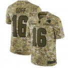 Men's Rams 16 Jared Goff  salute to service jersey camo