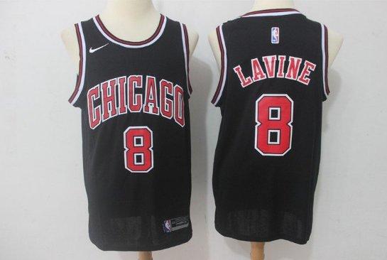arrives 7c174 85cc3 Men's Chicago Bulls # 8 Zach LaVine jersey black