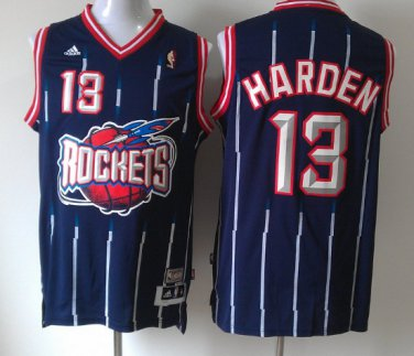 new arrival 48b71 e2a45 Men's Rockets #13 James Harden Stripe Jersey Blue Throwback