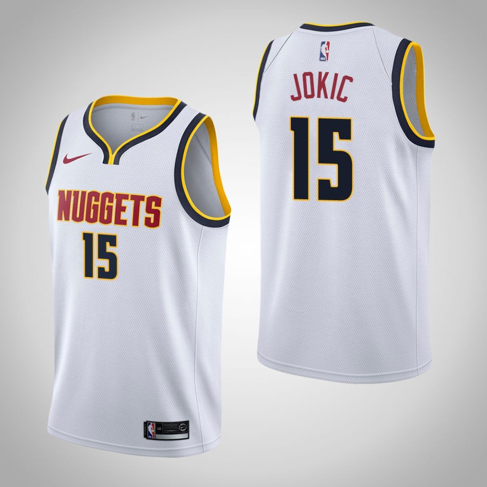 Denver Nuggets White Jersey: Men's Denver Nuggets #15 Nikola Jokic Jersey White