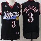 Men's Allen Iverson Philly 76ers 3 throwback  jersey BLACK