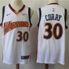 Men's  Warriors 30 Stephen Curry hardwood classics Jersey white