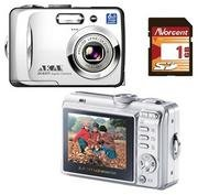 Akai DC7370 7.16 MP 3x Zoom 2.5 LCD Digital Camera and 1GB SD Card
