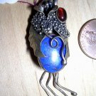 Lapis Pendant with Amber Cabochon