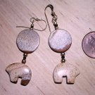 Handmade Picture Jasper Zuni Bear Earrings
