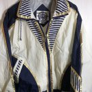East West Wind Breaker Small 100% Nylon Shoulder Pads White Blue Track Jacket