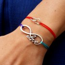 Sterling silver cord inspirational Bracelet with Infinity Love charm
