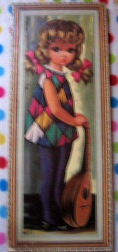 60s Harlequin Girl Mandolin Big Eye Sad Art Litho by Eden