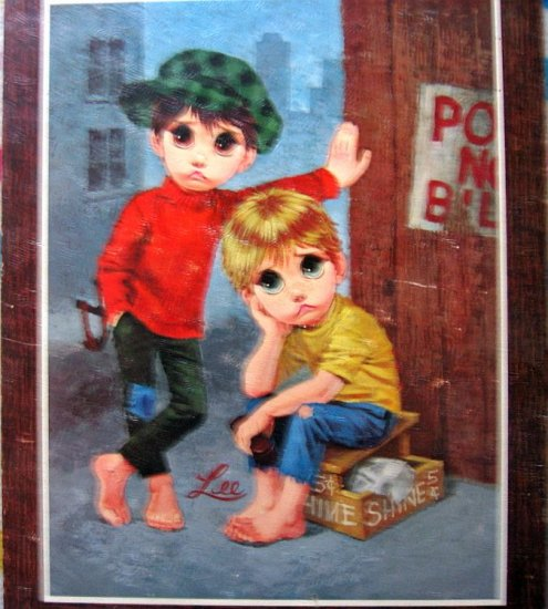 60s Litho Big Eye Sad Children Art #4 by Lee LIKE NEW