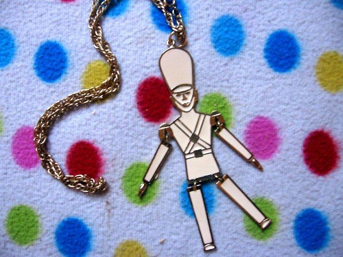Goldtone Vintage Soldier Necklace Emo Scene Mod NEW