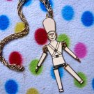 Goldtone Vintage Soldier Necklace Emo Scene Mod NEW