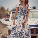 Women Vintage Deep V Neck Maxi High Split Dress