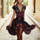 Women Floral V Neck Vintage Boho Long Maxi Dress
