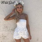 Women Off Shoulder Strapless White Lace Backless Jumpsuit